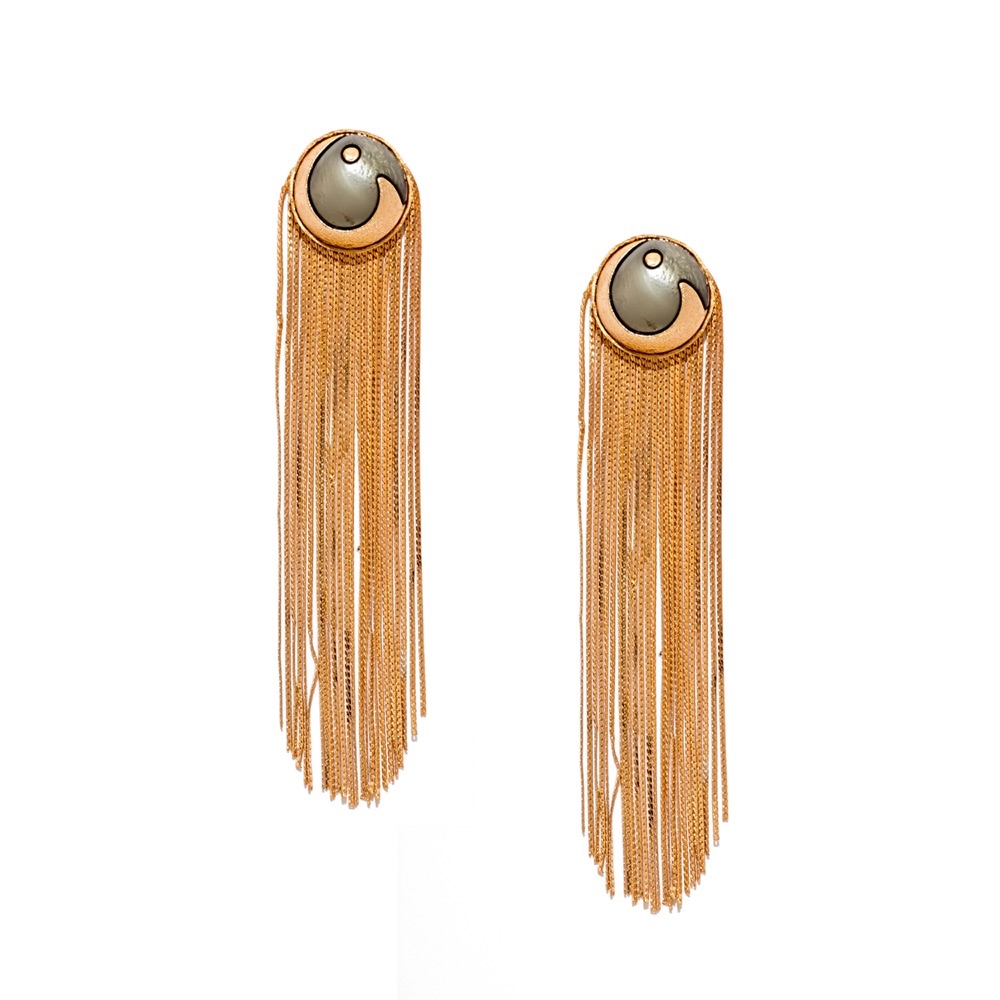 Valliyan 18Kt Gold Plated Metallic Tassel Earrings