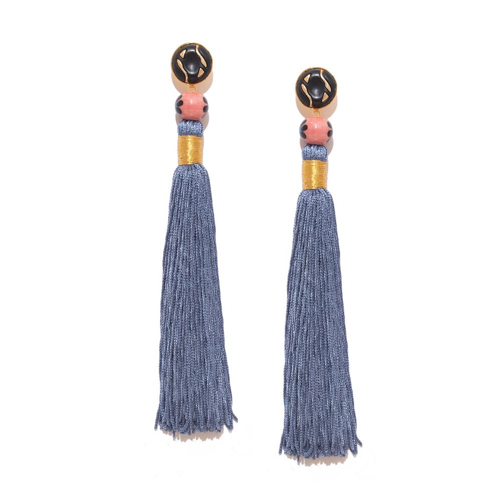 Valliyan 18Kt Gold Plated Silk Tassel Earrings