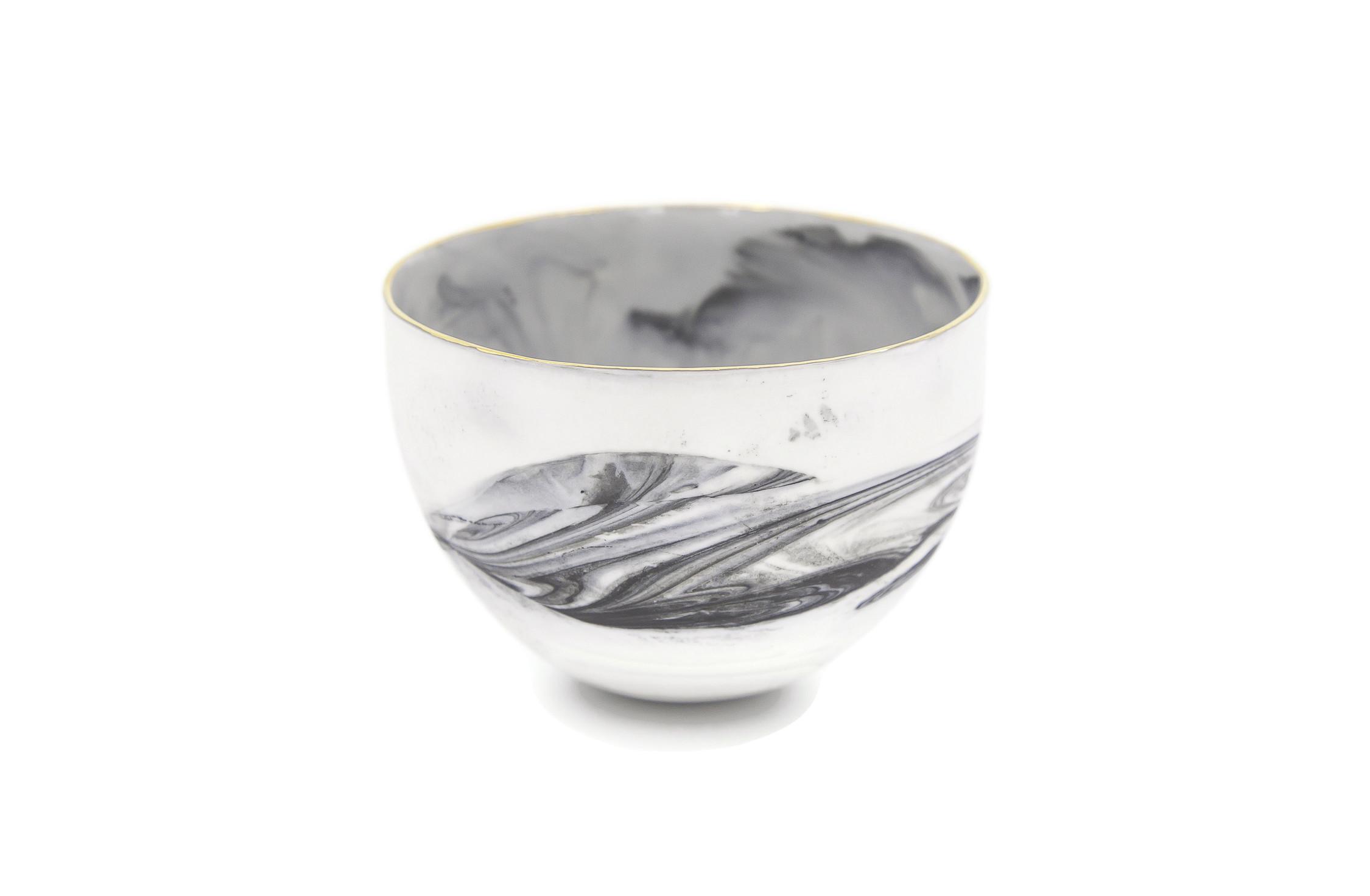 Collectible Porcelain Marble Bowl. Snack bowl, rice bowl, tapas bowl, ceramic bowl, side dish bowl, dessert bowl, sorbet bowl