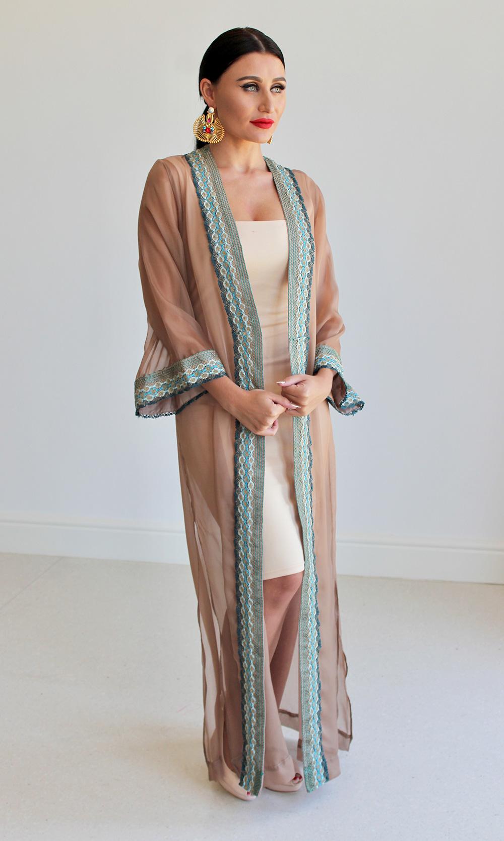 Sheer Chiffon Kimono Kaftan Robe
