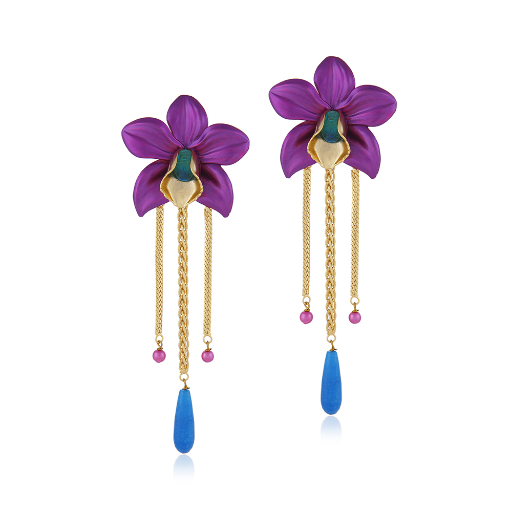 18Kt Gold Plated Metallic Orchid Earrings - Fuchsia