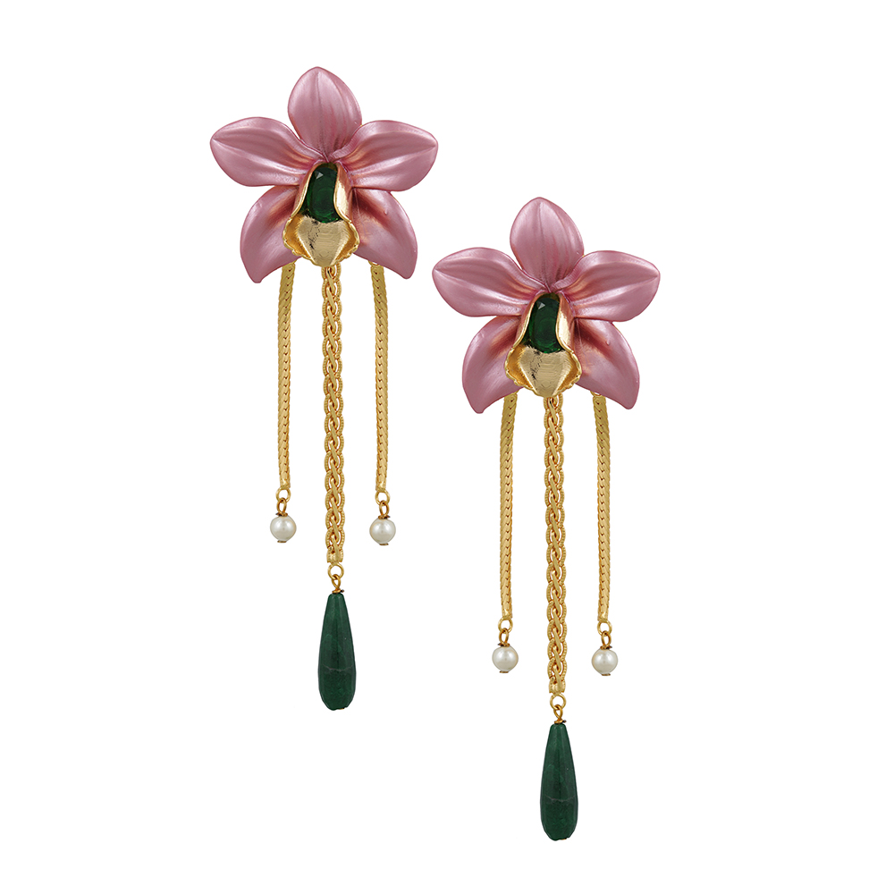 18Kt Gold Plated Metallic Orchid Earrings - Pink