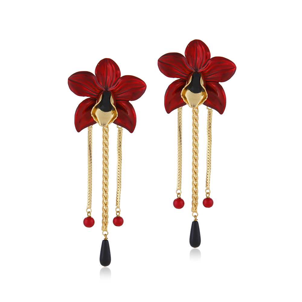 18Kt Gold Plated Metallic Orchid Earrings - Red
