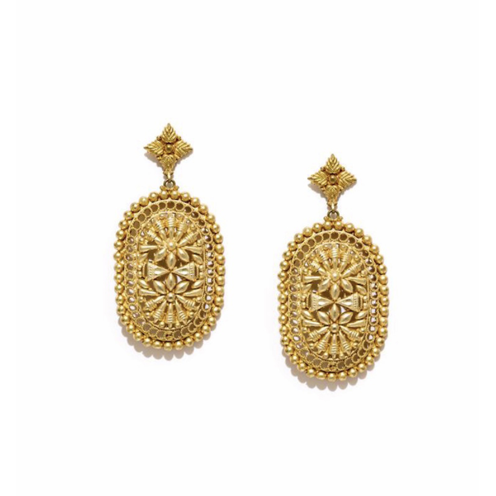 18Kt Gold Plated Mirza Earrings - Gold