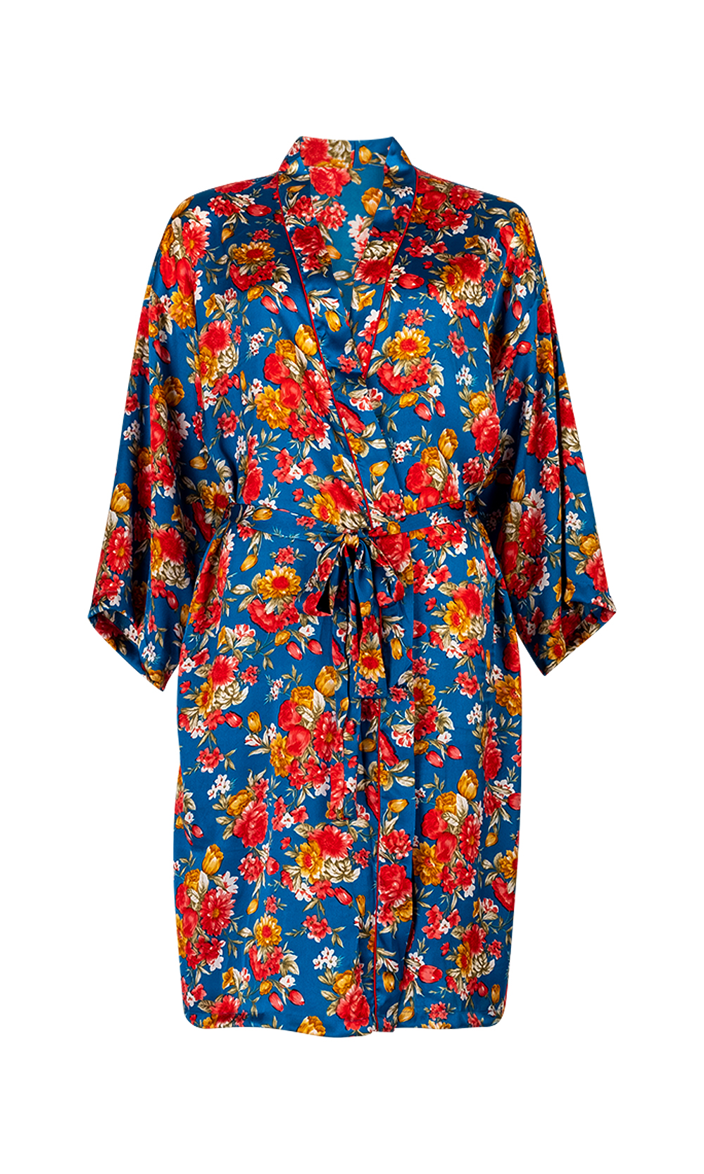 Blue Luxurious Satin Bath Robe