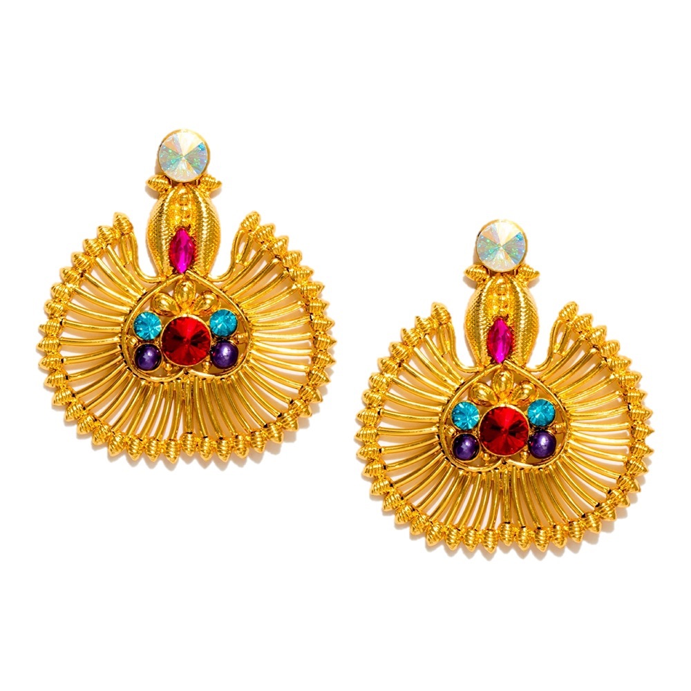 Valliyan 18Kt Gold Plated Roshanara Fan Earrings