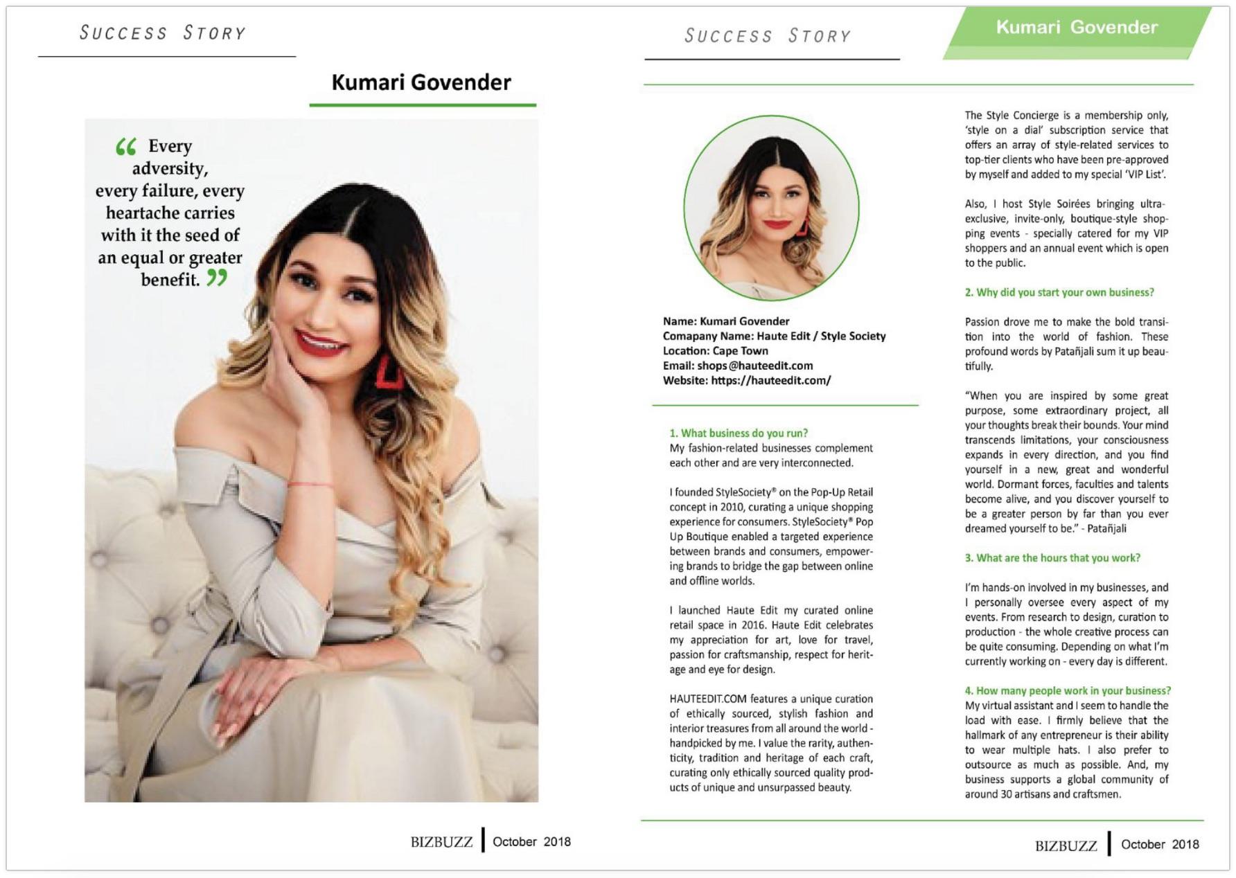 Kumari Govender | Female Entrepreneur | BizBuzz Magazine