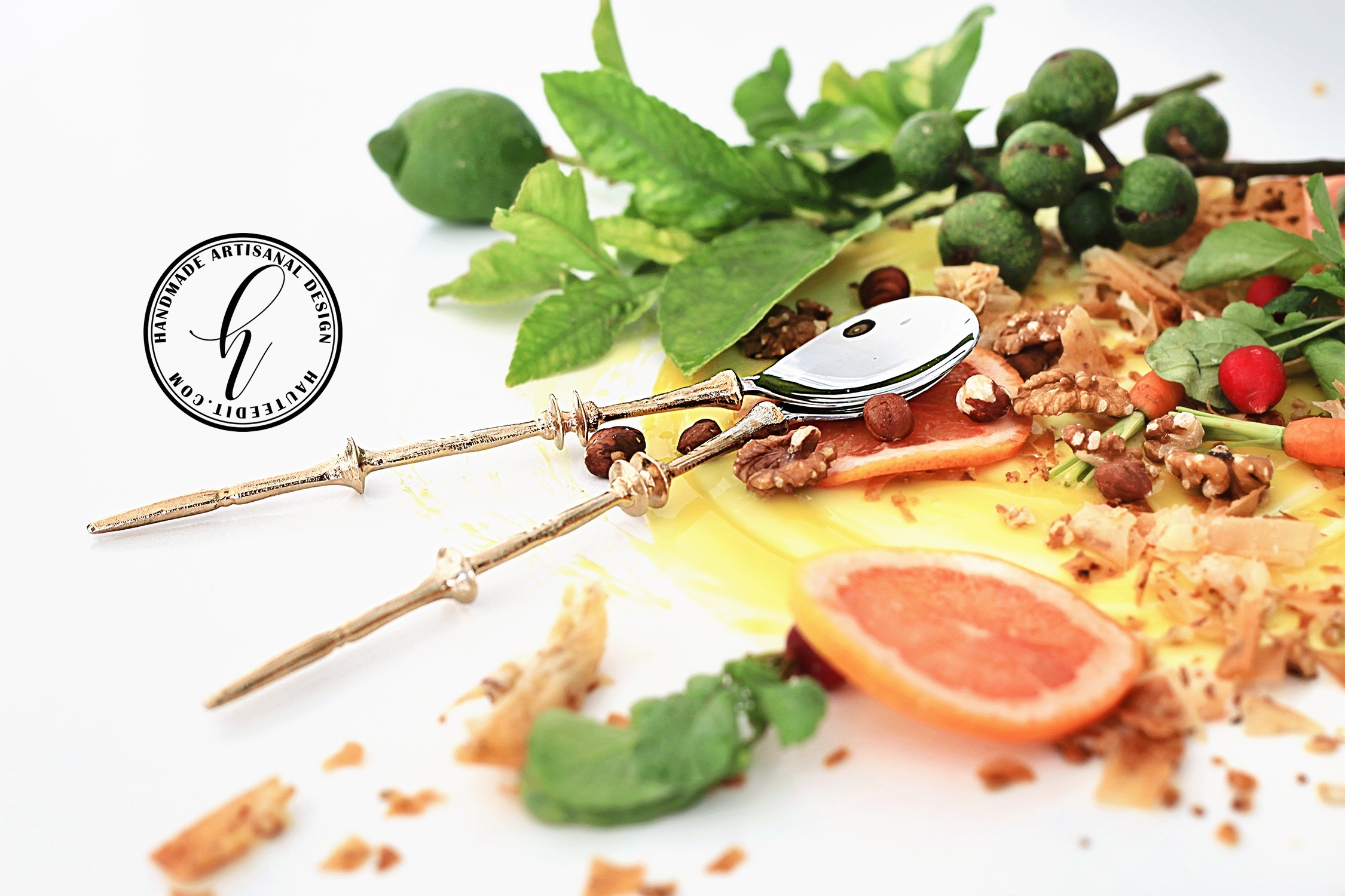 Golden Brass Kalifi Salad Servers