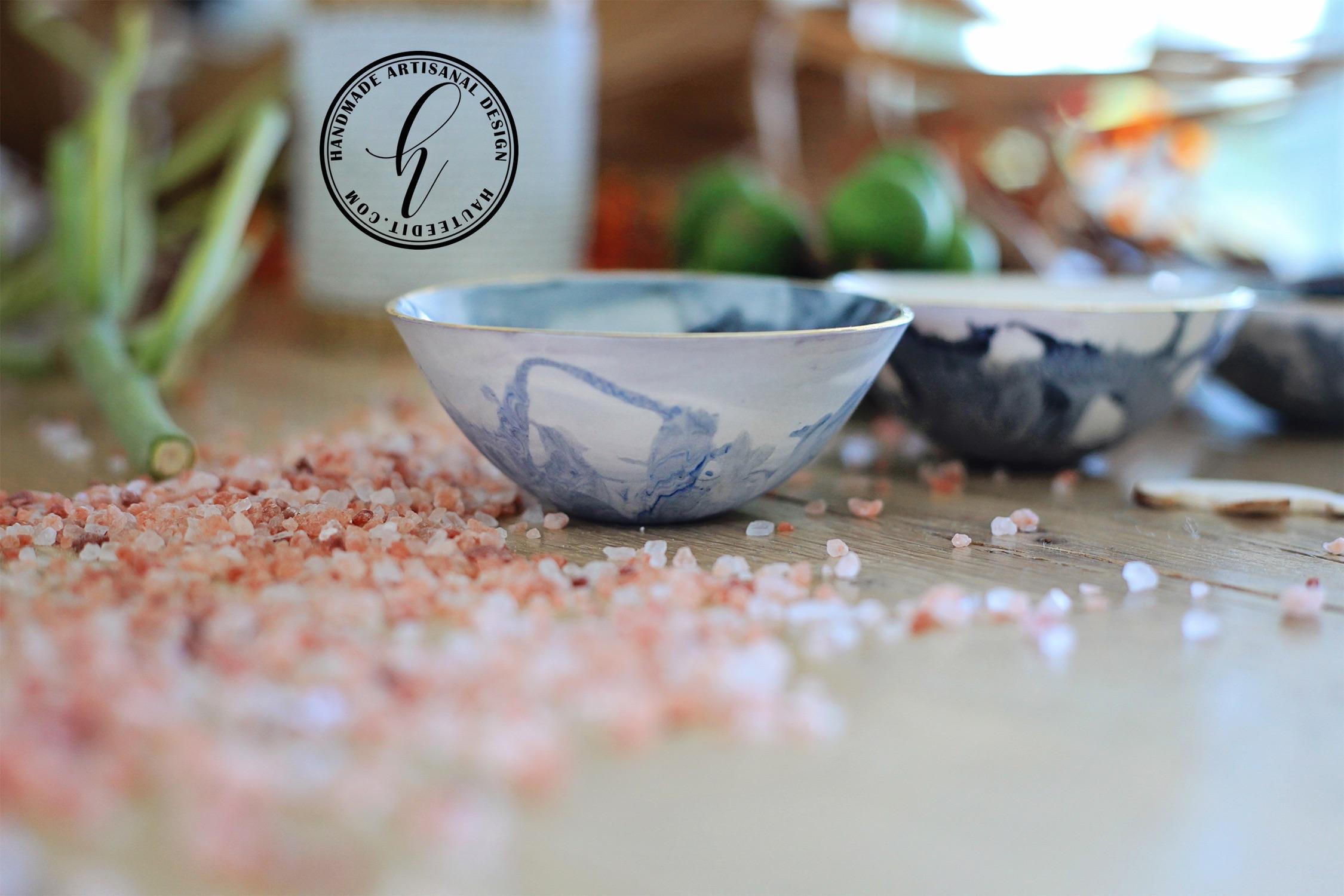 Porcelain Mezze Condiment Marble Bowls.