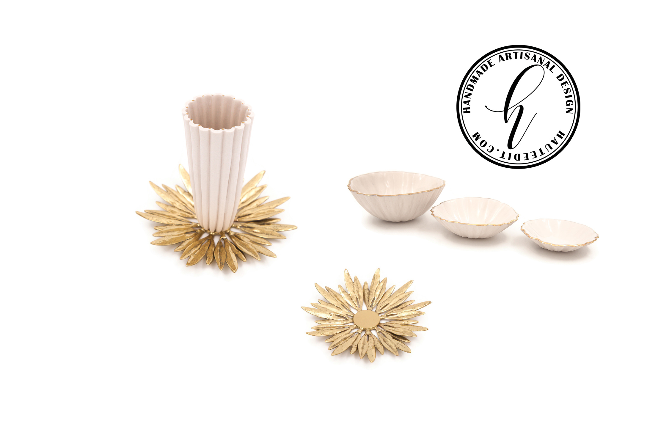Fluted Cup Solid Brass Olive Leaf Charger Set
