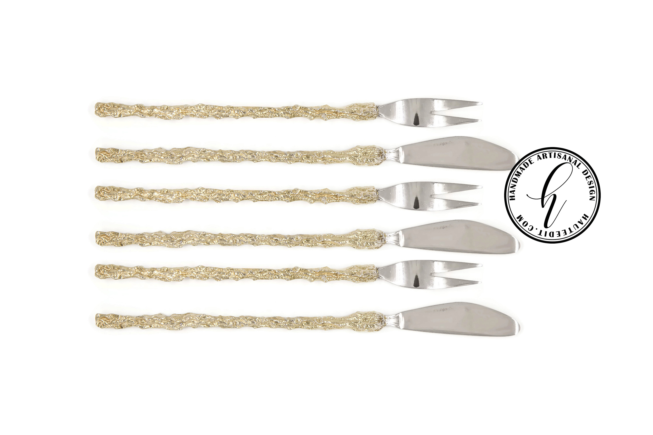 Gold Pickle Fork & Pâté Knife Set of 6