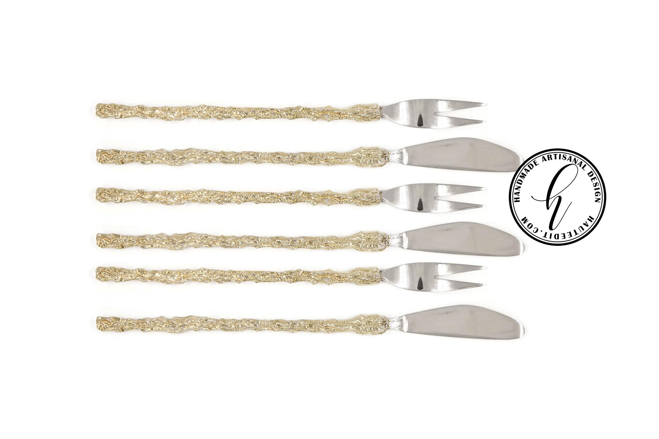 Gold Pickle Fork & Pâté Knife Set of 6