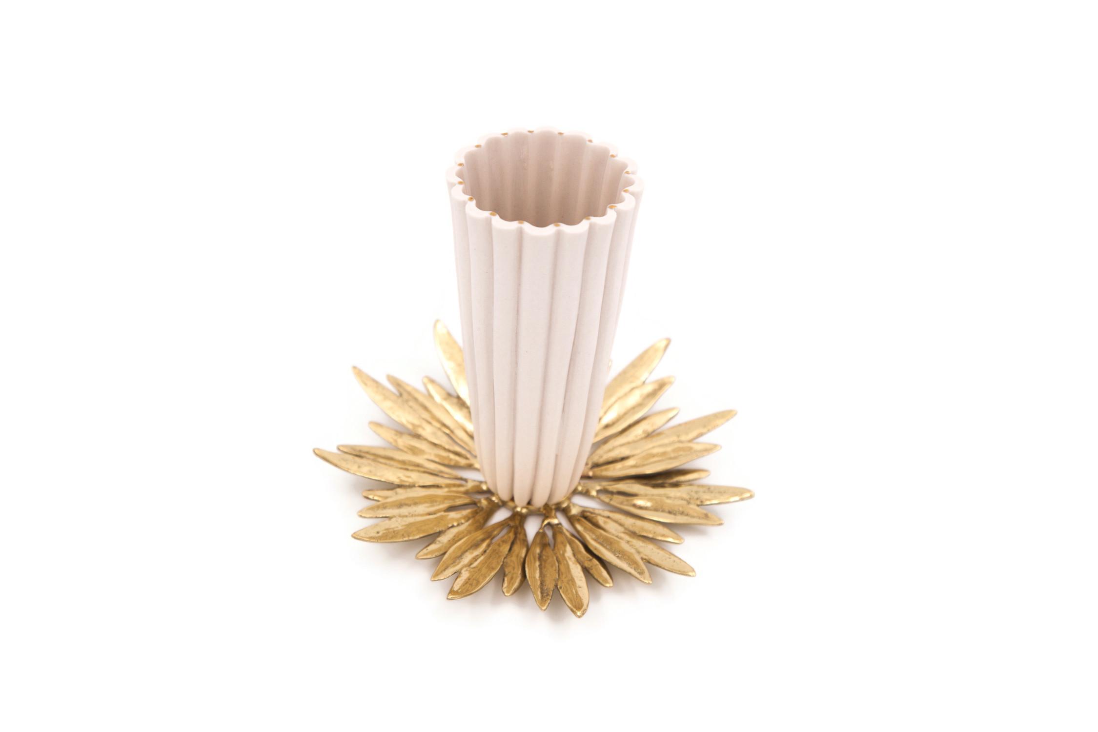 Porcelain Fluted Cup Solid Brass Olive Leaf Charger Set