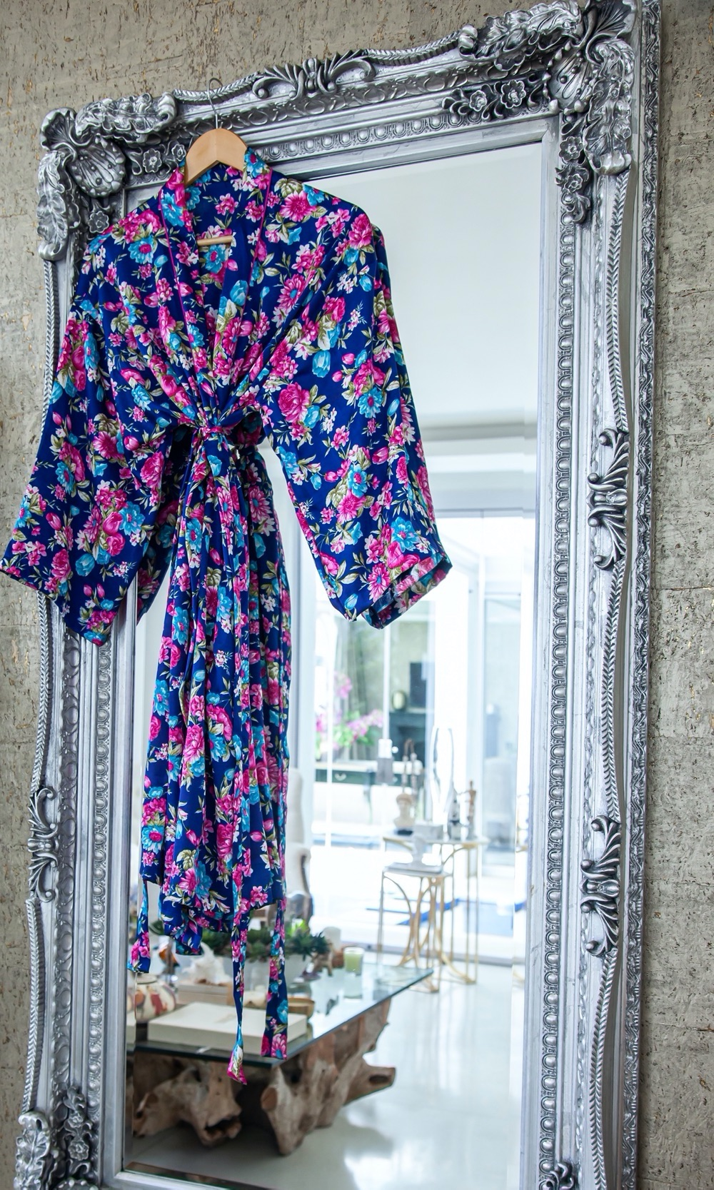 Navy Luxurious Satin Bath Robe