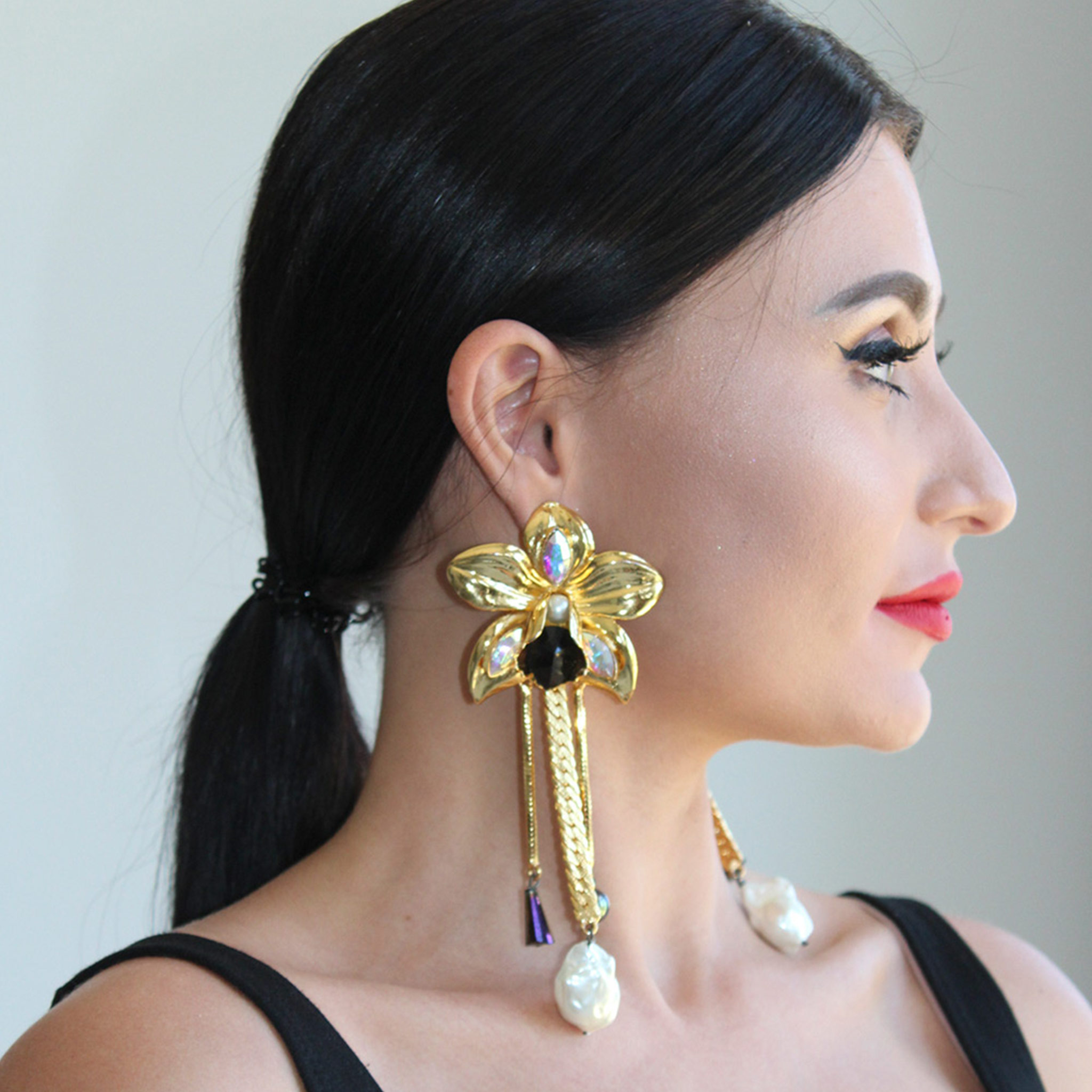 Valliyan 18K Gold Plated Wild Orchid Earrings
