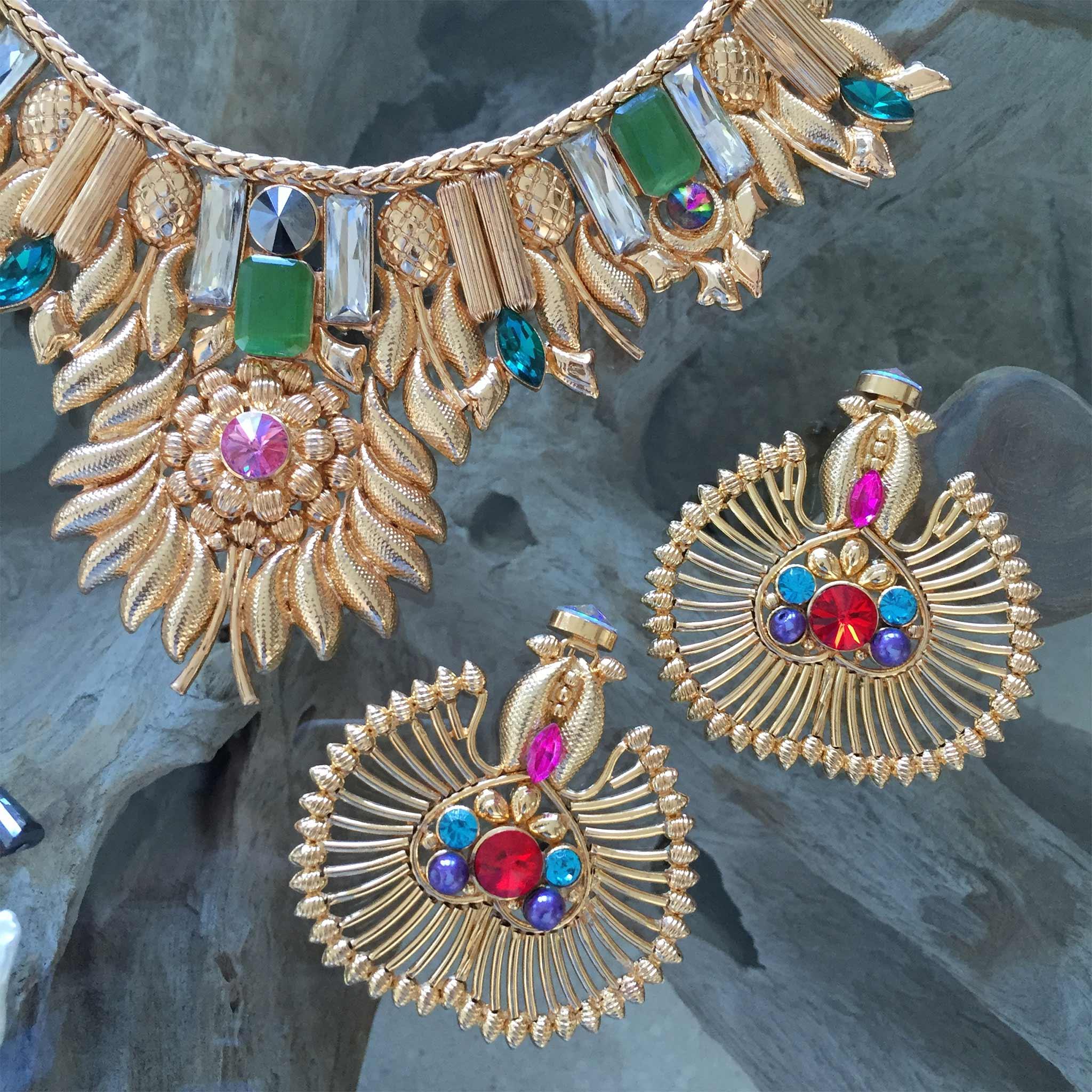 Valliyan 18Kt Gold Plated Roshanara Fan Earrings