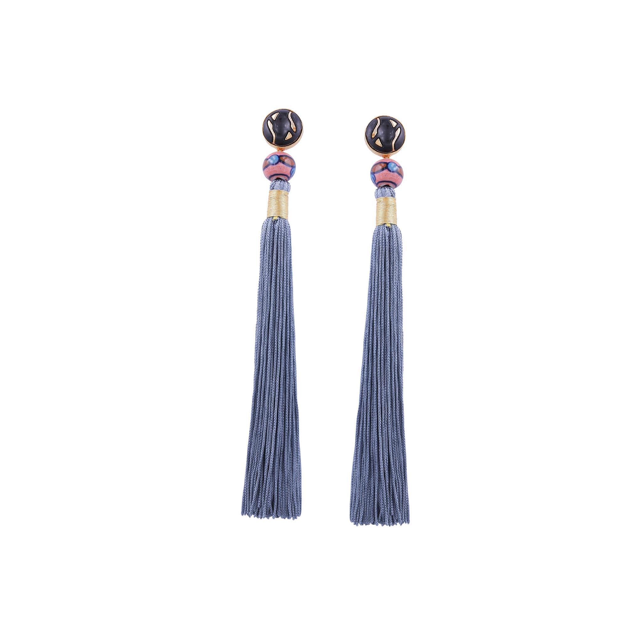 Valliyan Nitya Arora Gold Plated Silk Tassel Earrings Periwinkle