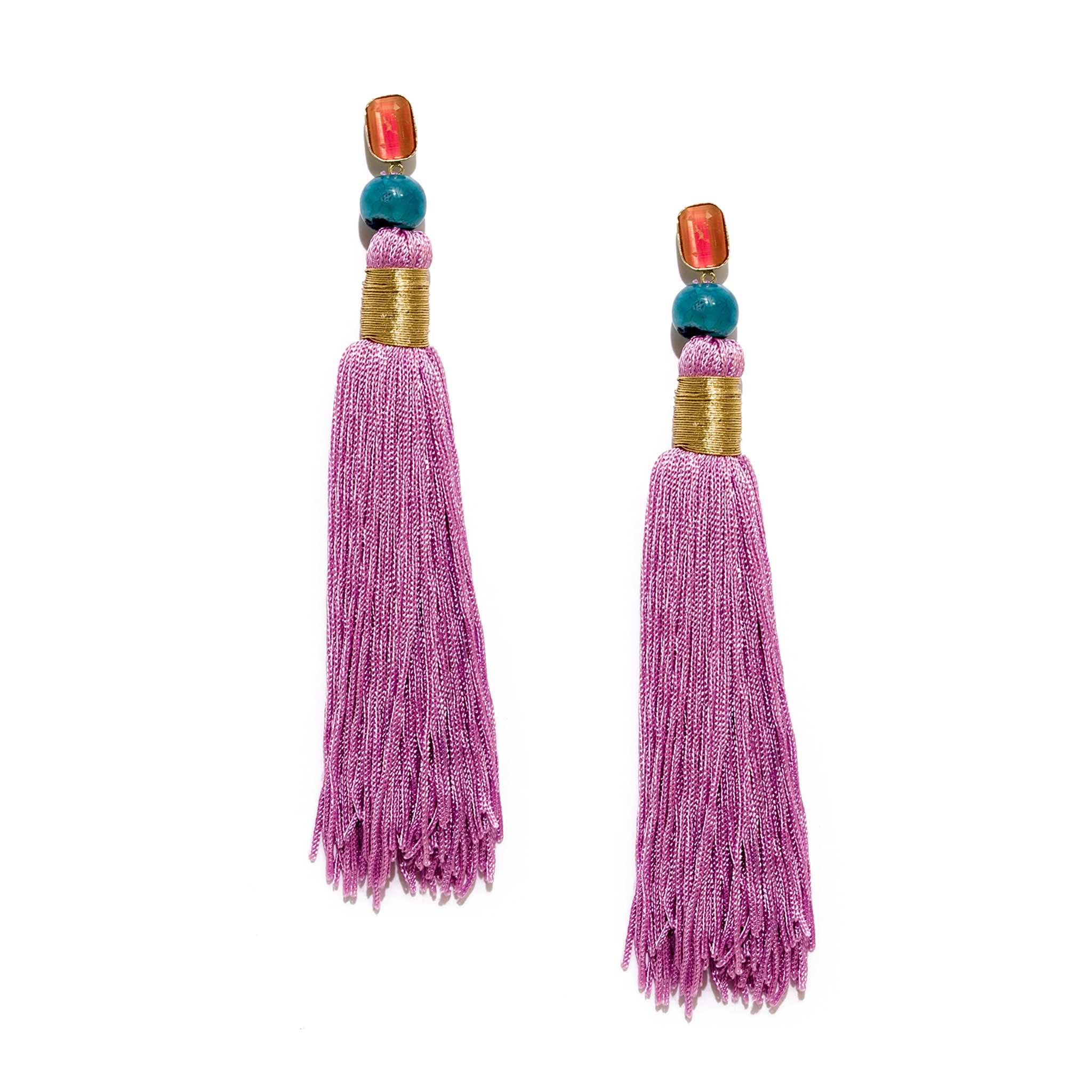Valliyan Nitya Arora Gold Plated Silk Tassel Earrings Pink