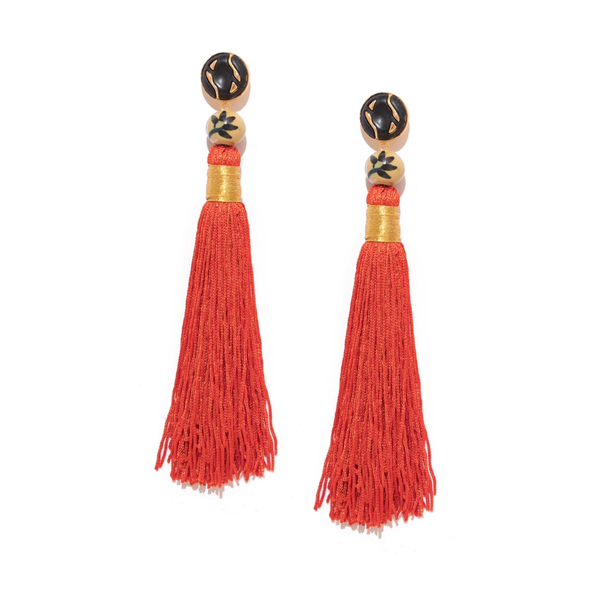Valliyan Nitya Arora Gold Plated Silk Tassel Earrings Red Orange