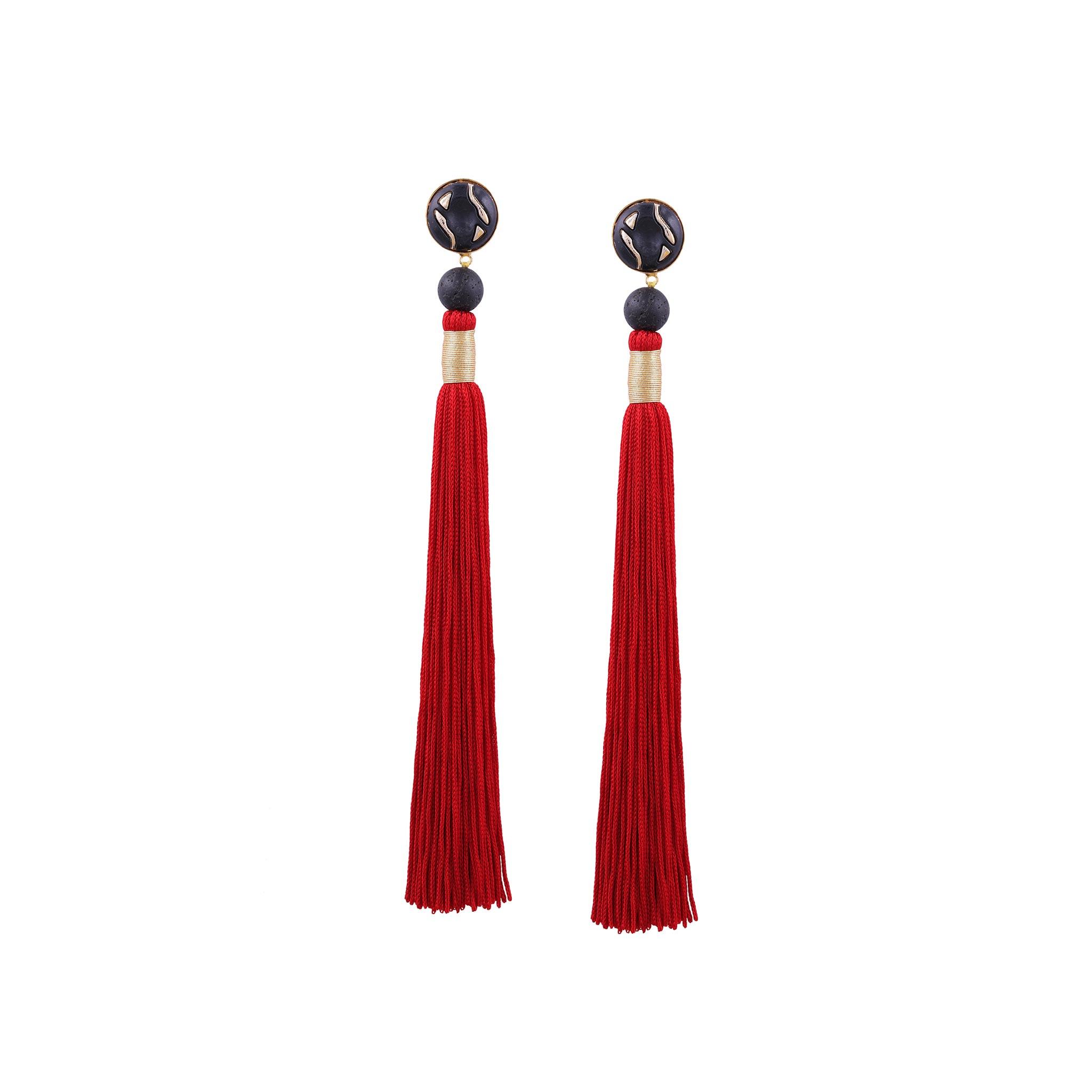 Valliyan Nitya Arora Gold Plated Silk Tassel Earrings Red