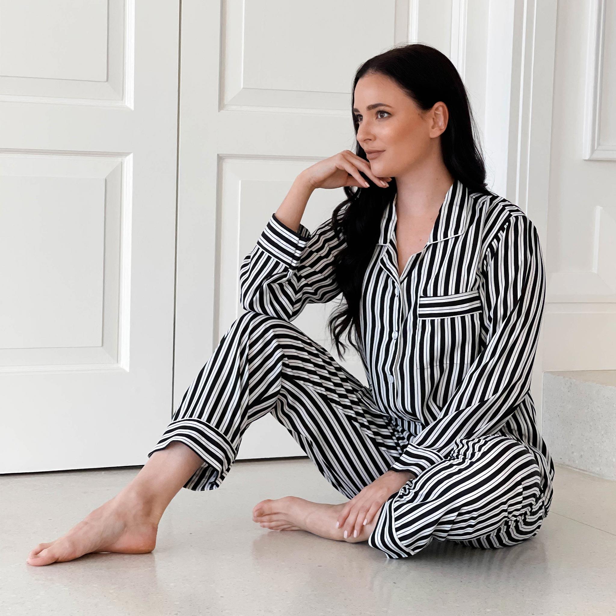 Womens Sleepwear Pajamas Black & White Striped