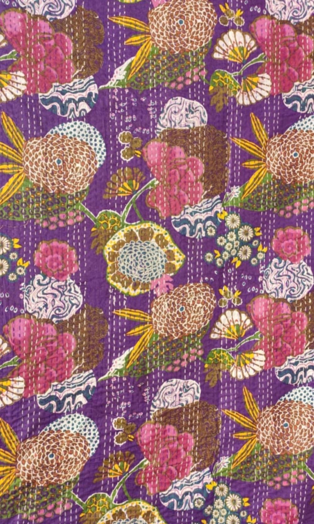 Block Printed Reversible Cotton Kantha Throw