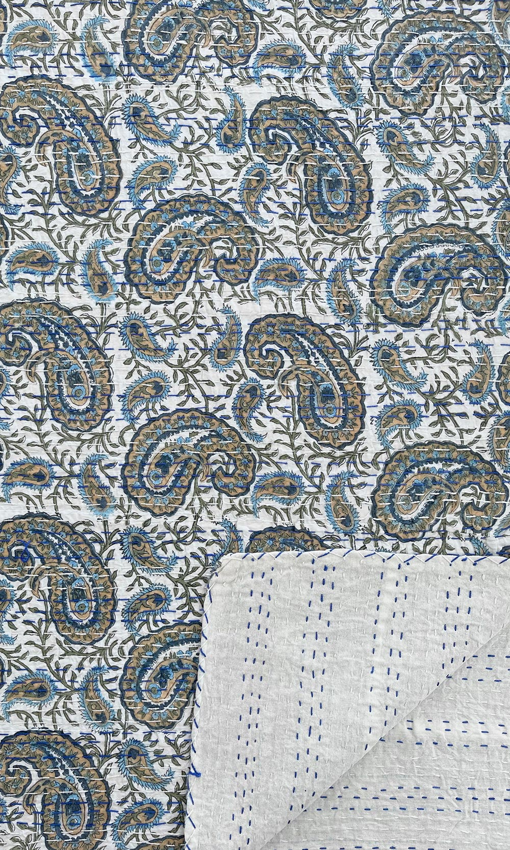 Blue Paisley Block Printed Reversible Cotton Kantha Throw