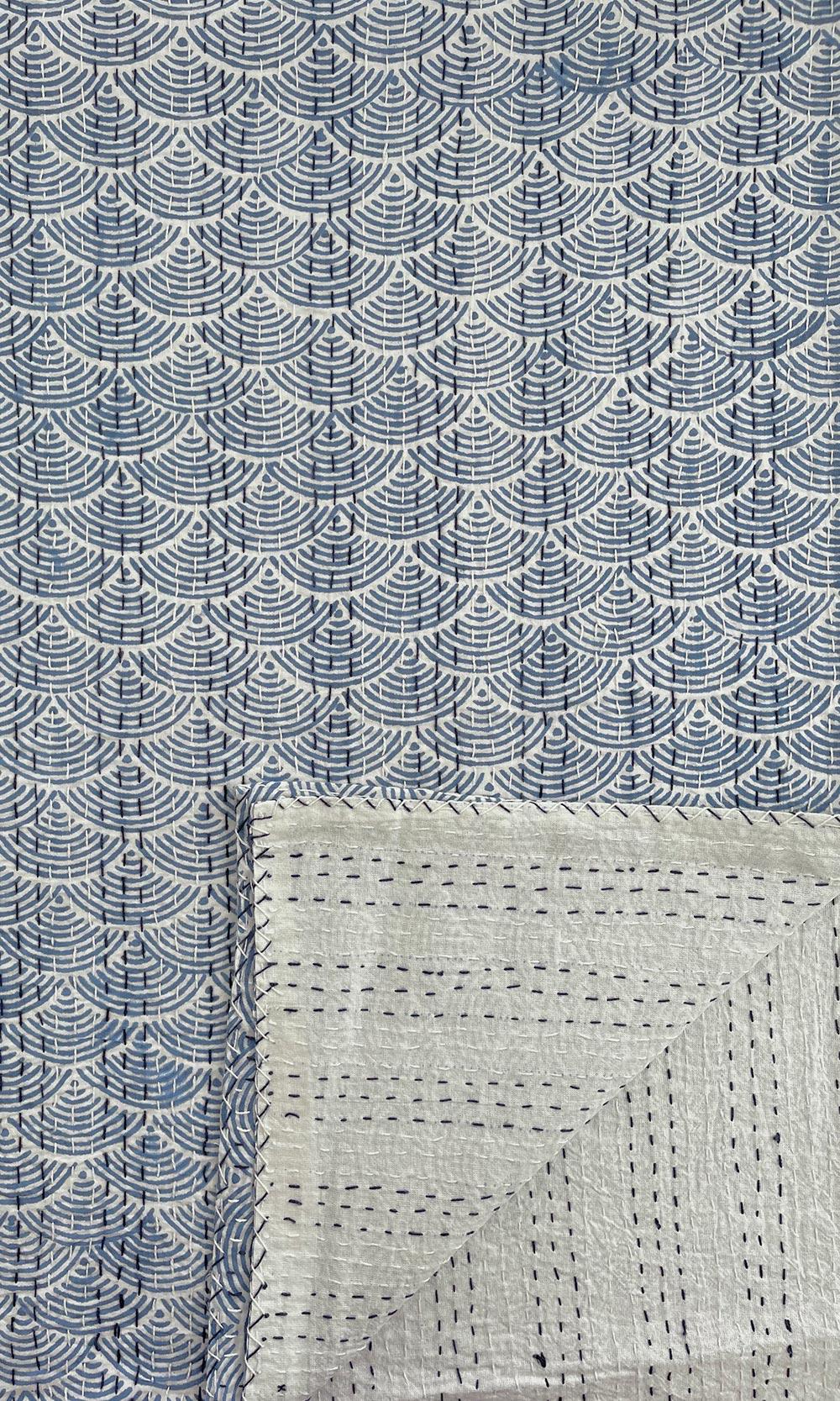 Blue & White Block Printed Reversible Cotton Kantha Throw
