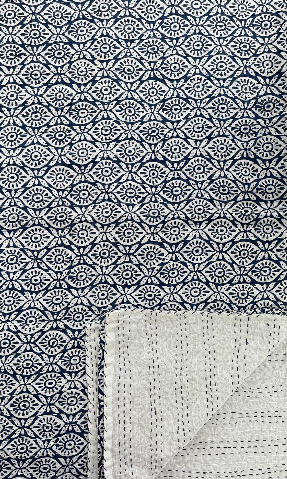 Blue White Evil Eye Block Printed Reversible Cotton Kantha Throw