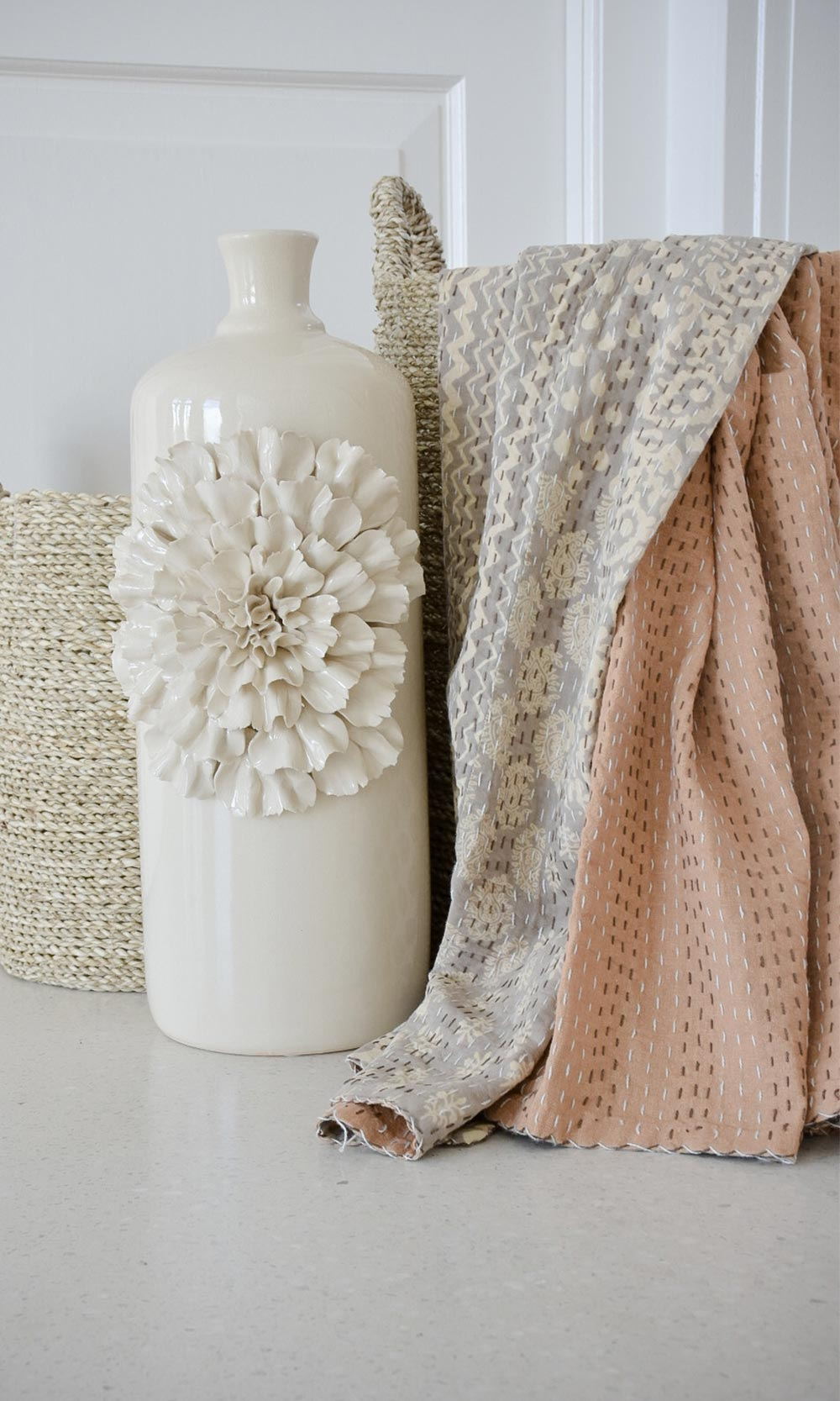 Cream Cappuccino Block Printed Indian Cotton Kantha Throw