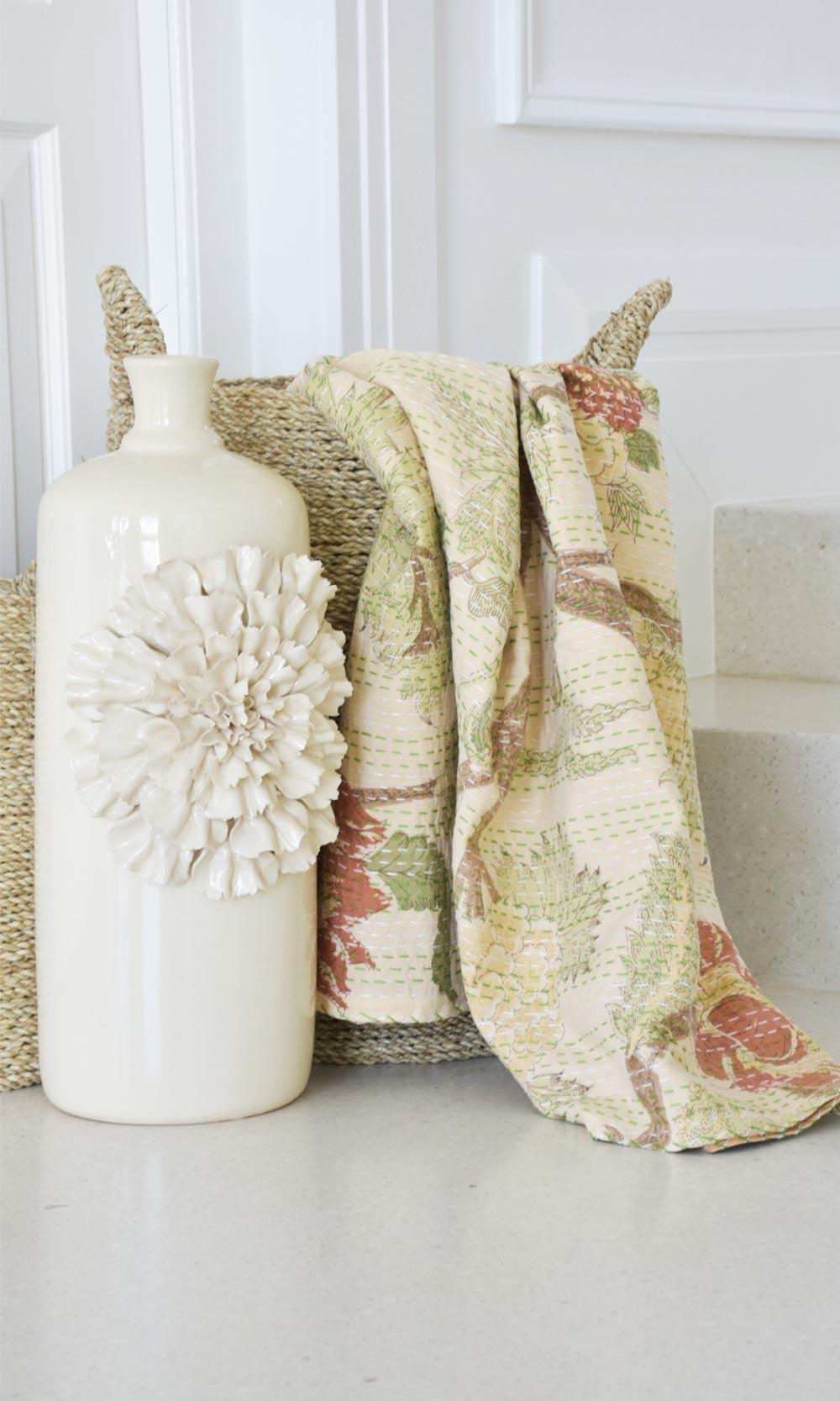 Cream Floral Block Printed Indian Cotton Kantha Throw