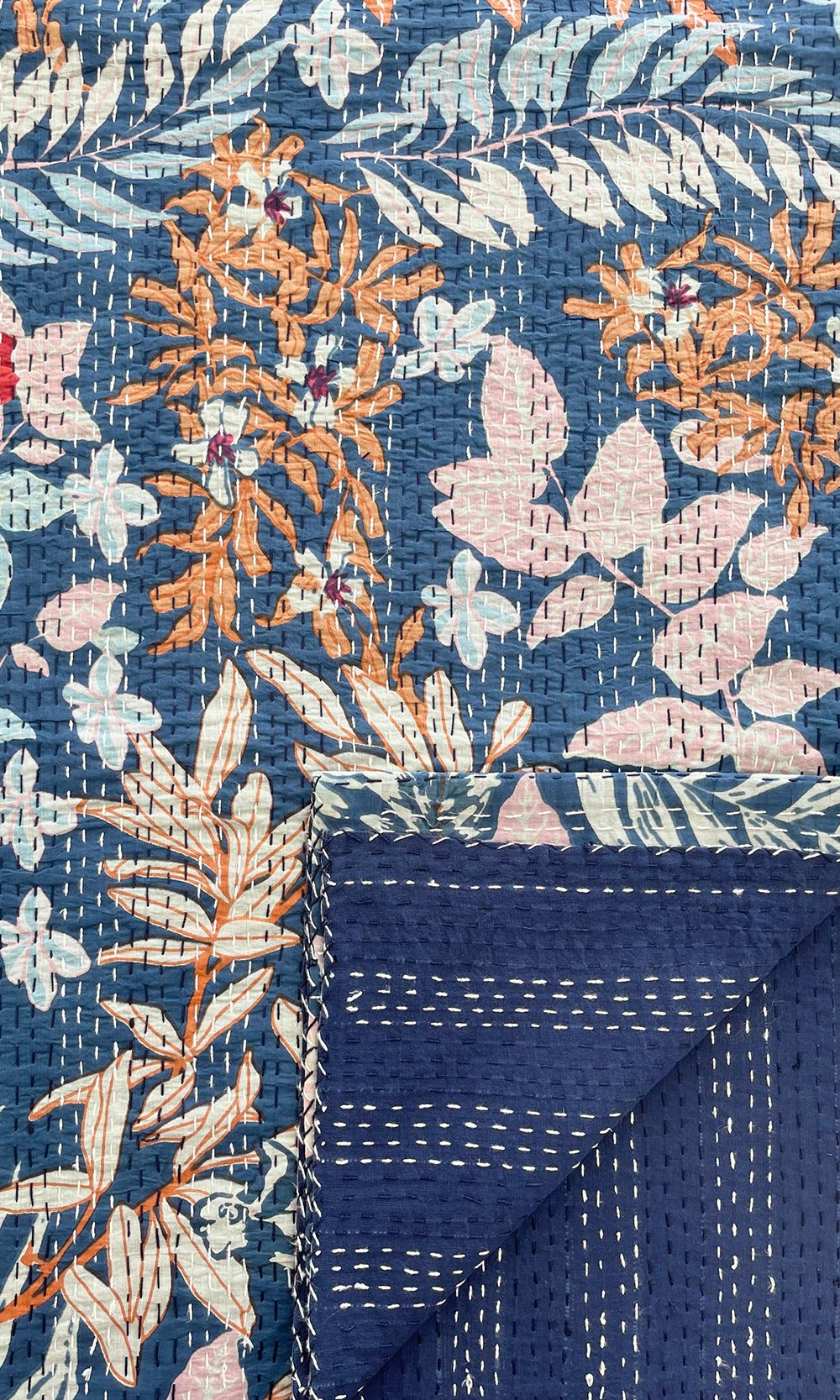 Floral Blue Block Printed Reversible Cotton Kantha Quilt