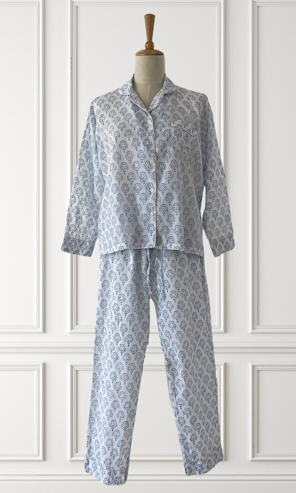 Hand Block Printed Indian Cotton Blue White Pyjamas