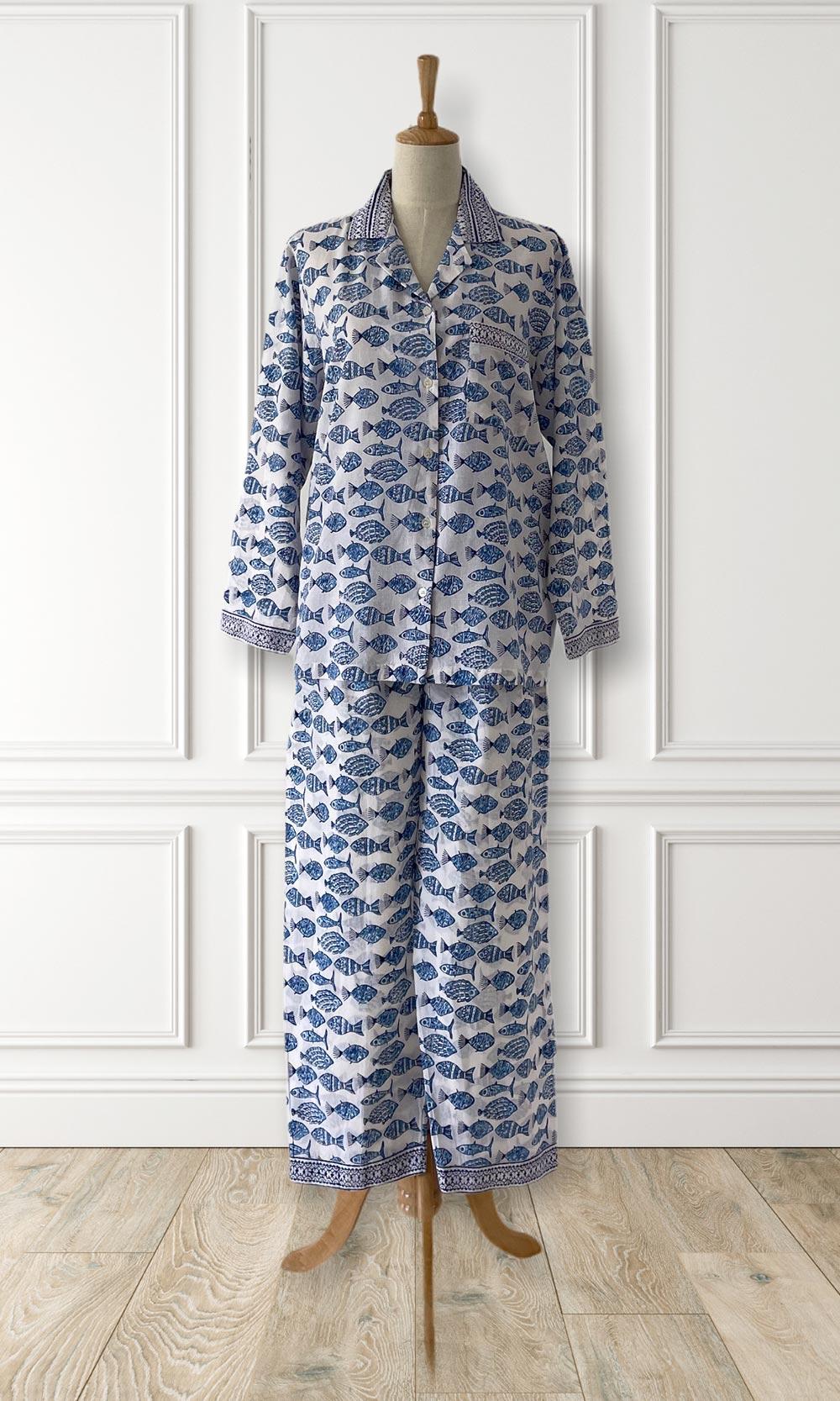Hand Block Printed Indian Cotton Pyjamas Blue Fish