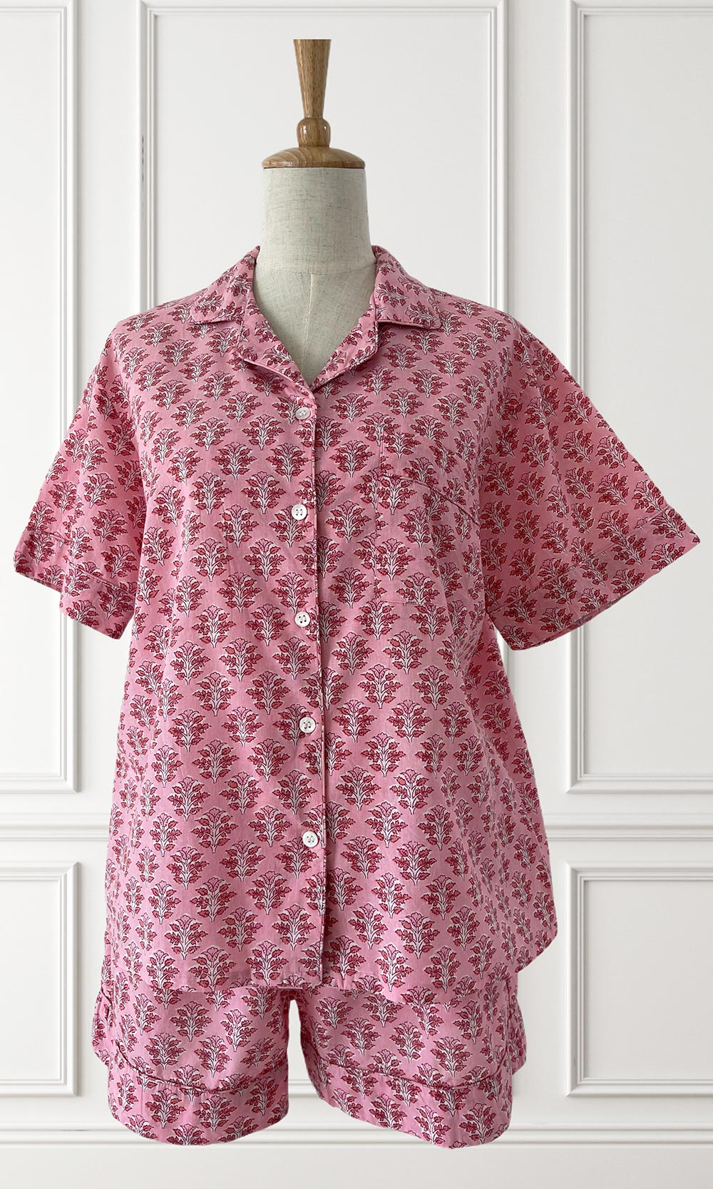 Hand Block Printed Indian Cotton Pyjamas Pink