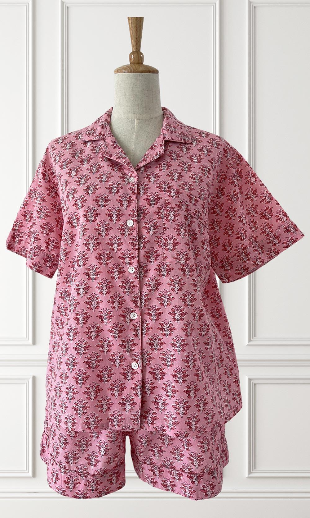 Hand Block Printed Indian Cotton Pyjamas Pink