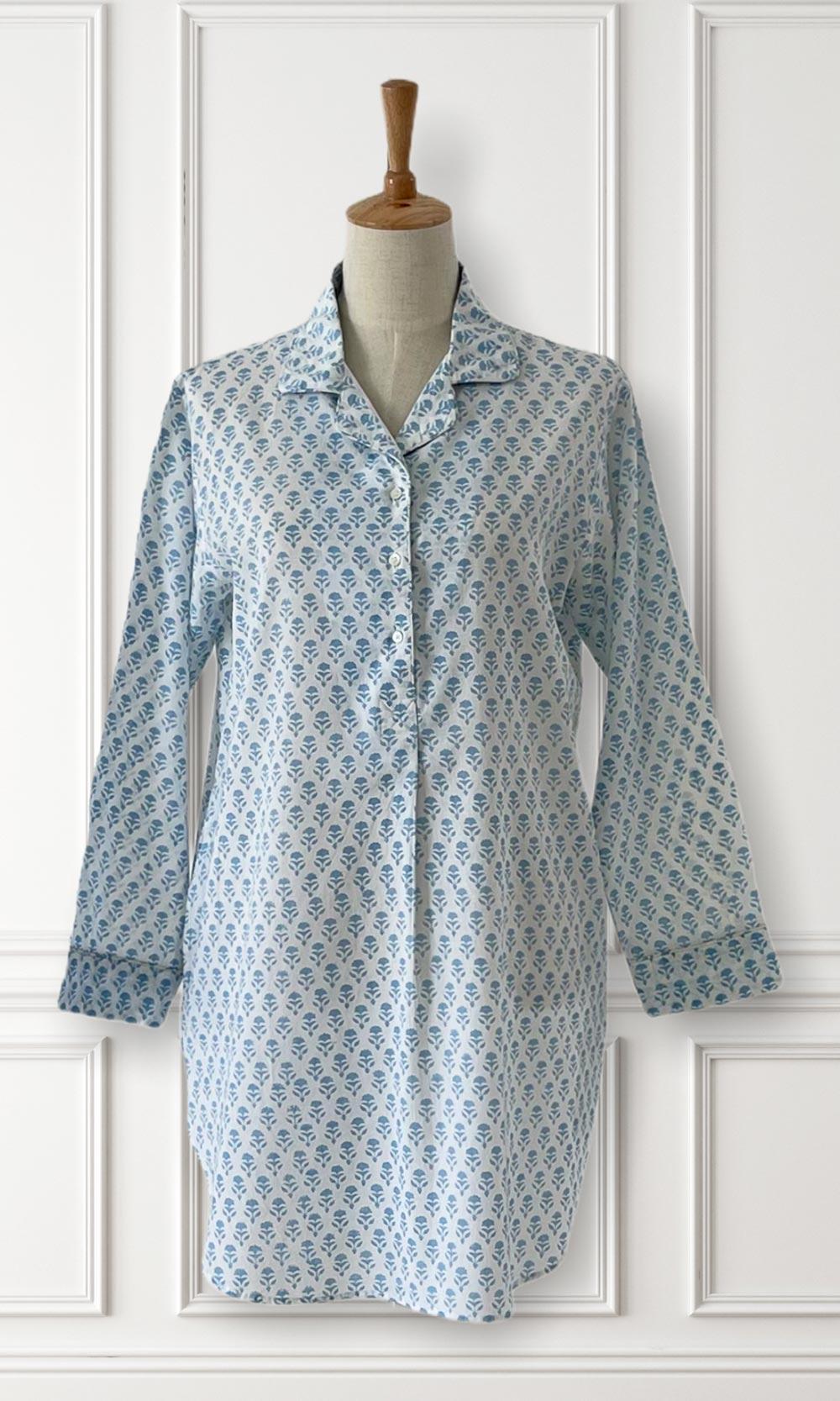 Hand Block Printed Indian Cotton Sleep Shirt