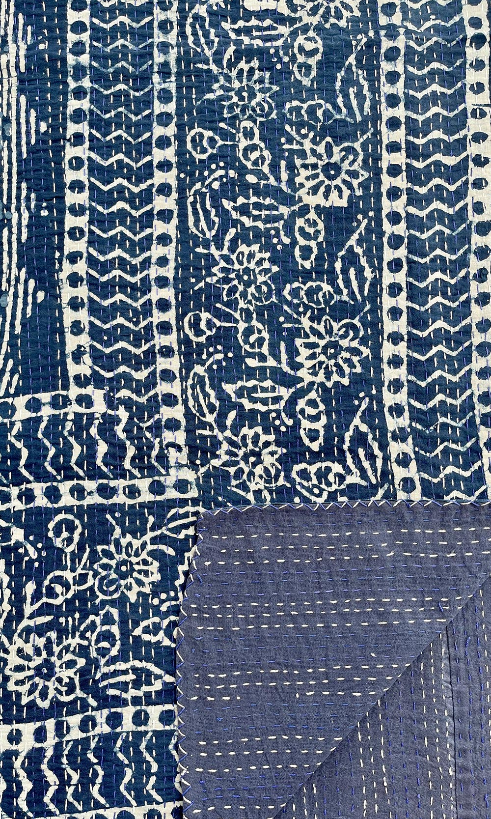 Indigo Blue Reversible IndianCotton Kantha Quilt