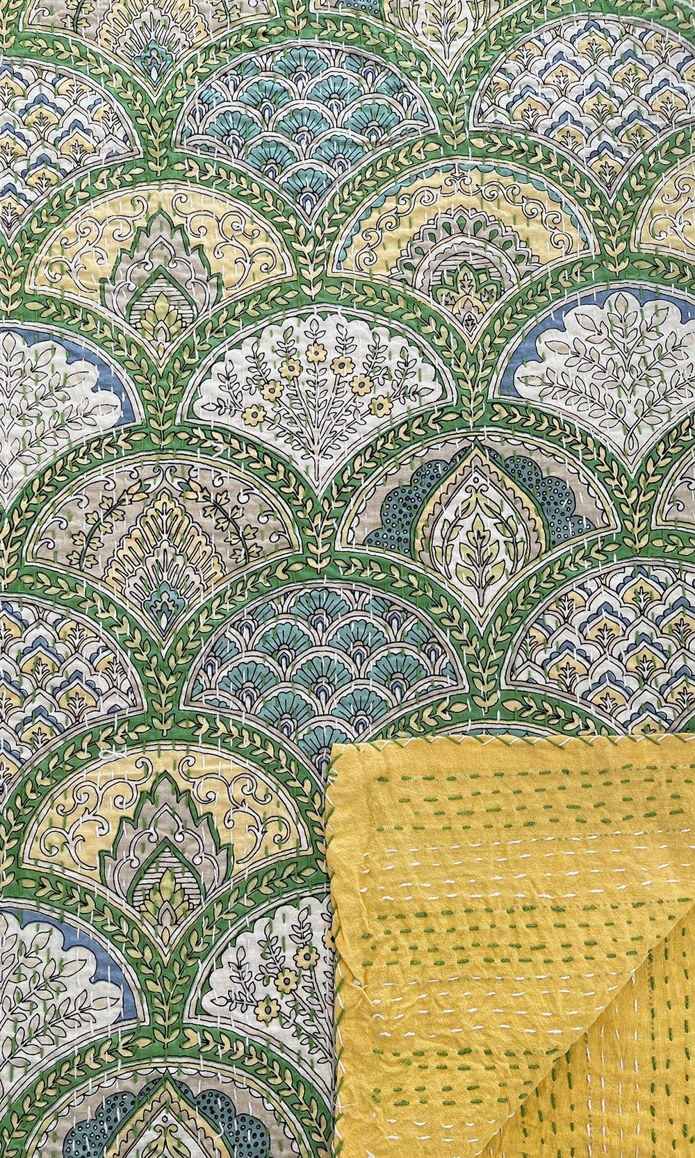 Yellow Green Block Printed Reversible Kantha Throw