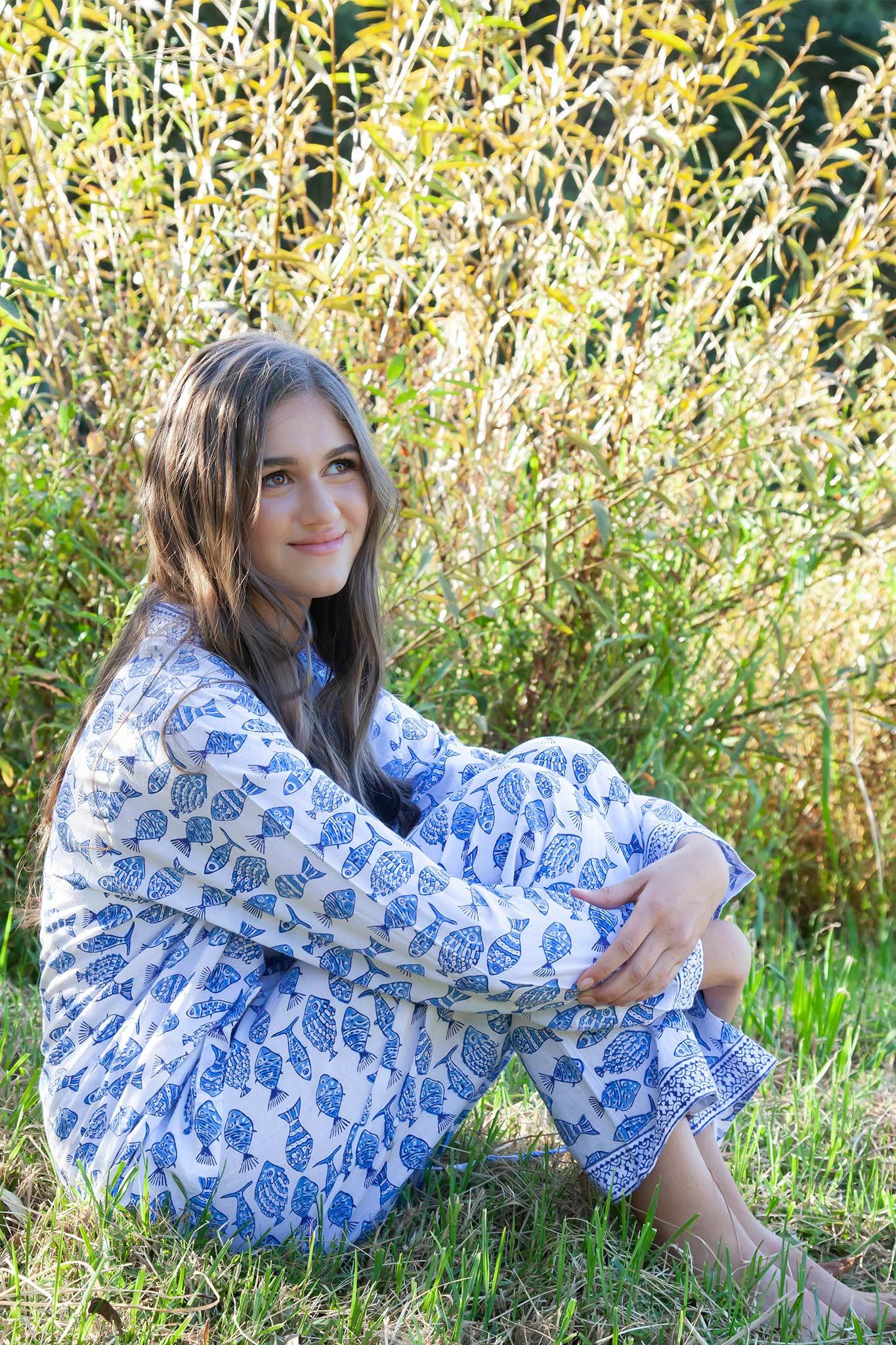 Hand Block Printed Cotton Sleepwear Pajama Set