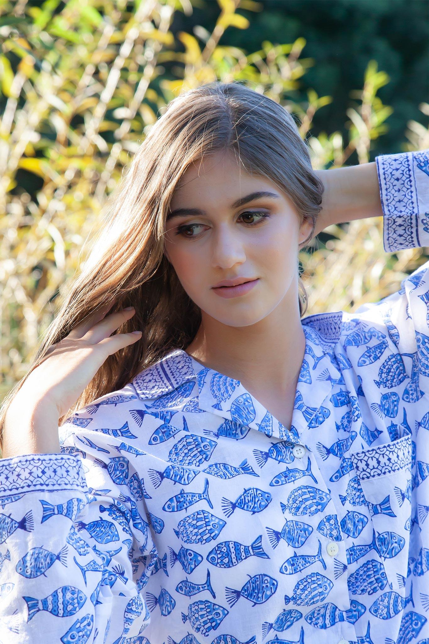 Hand Block Printed Cotton Sleepwear Pyjama Set