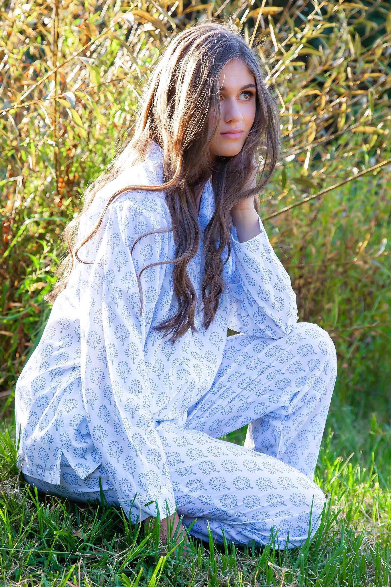 Hand Block Printed Organic Cotton Pajama Sleepwear Set