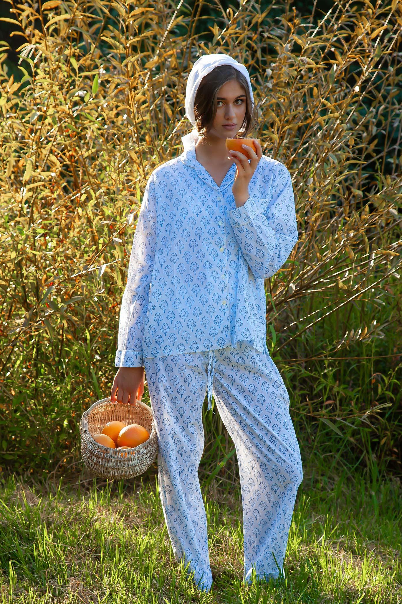 Haute Edit Block Printed Cotton Pajamas