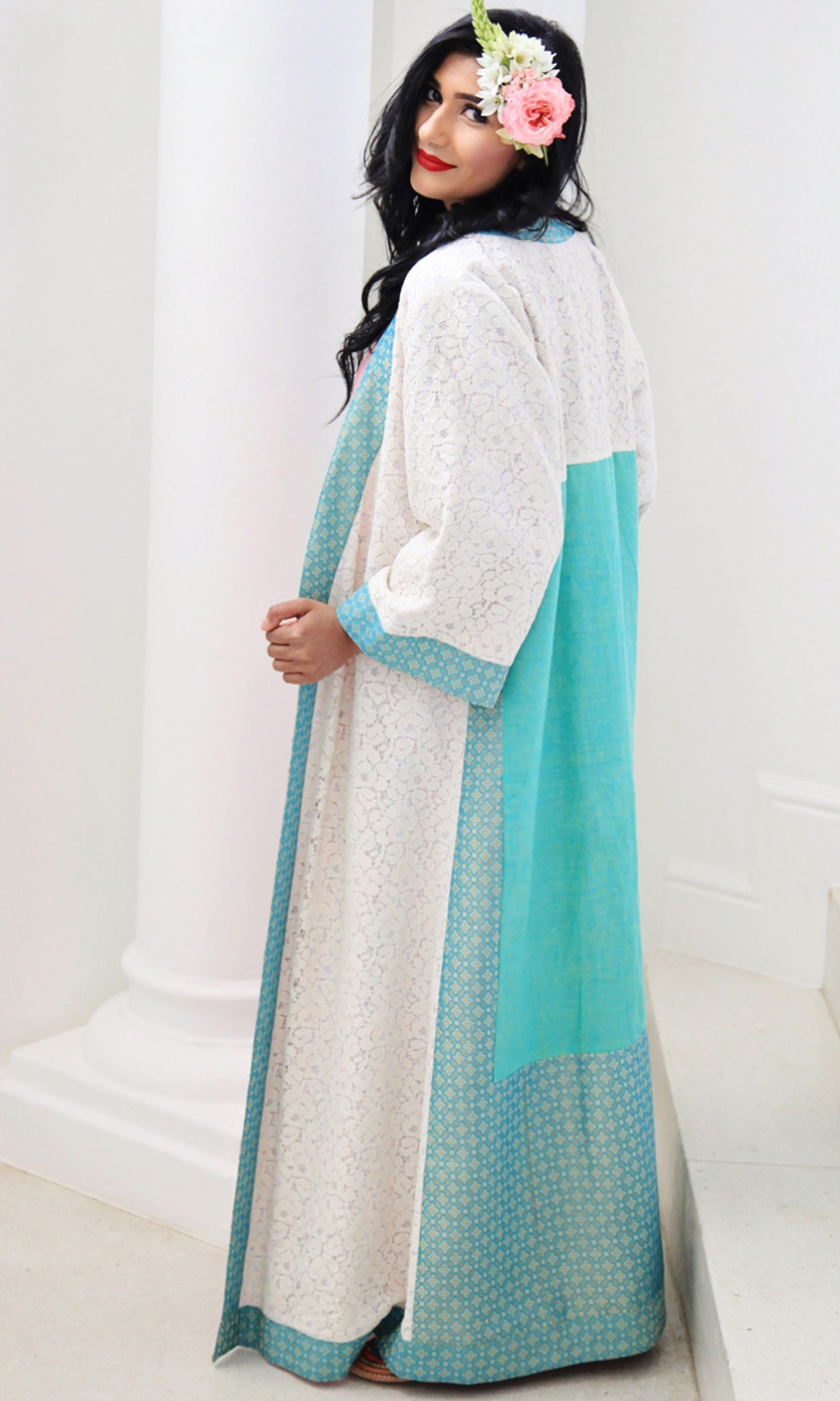 Kaftan Robe Duster Coat Brocade Silk Lace